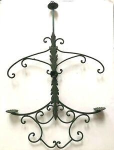 Vtg Hanging Candle Holder Candelabra Tole Metal Wrought Iron Antique Acanthus