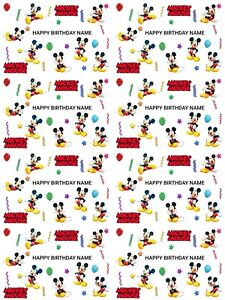 Mickey Mouse Personalised Birthday Gift Wrapping Paper 3 Designs ADD NAME