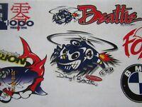Vintage Racing  Decals / Stickers Boyesen -Rocket Sprocket-Norrick-Motul-NOS