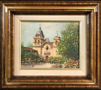 "Original Art: Oil Painting by Peter Bunell titled ""Carmel Mission"" 8"" x 10"""
