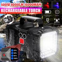 15000mAh Dual Head USB Rechargeable LED Work Light Torch Spotlight Hand Lamp  #