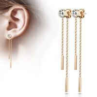 Stainless Steel Rose Gold Plated Double Bar Dangle Earrings - 6 mm CZ Bezel Set