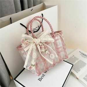 Beach Shoulder Bag Bow Straw Woven Totes Candy Colors  Handbag Ladies Pvc Clear