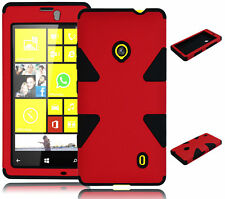 For Nokia Lumia 521 Hybrid Red Dynamic Hard Case + Black Silicone Cover