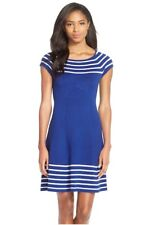 Eliza J Blue/White Striped Knit Flare Dress.SZ:L
