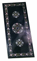 Size 4'x2' Black Marble Top Dining Table Semi Precious Inlay Mosaic Home Decor
