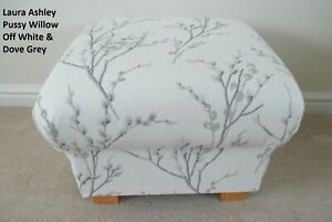 Storage Footstool Laura Ashley Pussy Willow White & Grey Footstall Pouffe Floral