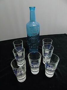 Lot Pastis 51 bouteille bleue la carafe piscine 7 verres sérigraphiés collectors