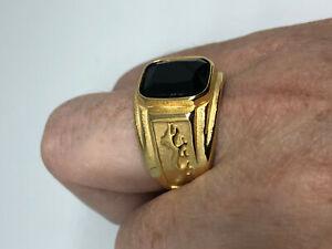 Vintage Black Onyx Dragon Mens Ring Golden Stainless Steel Size 9