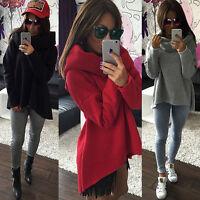 Damen Rollkragen Sweatshirt Pullover Asymmetrisch Langarm Pulli Bluse Hoodie Top