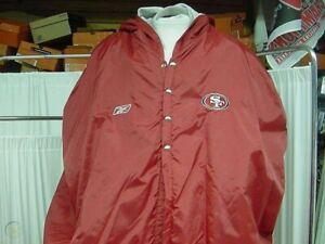 San Francisco 49ers Sideline Hooded Over Shoulder Pad Insulated Jacket Size XL