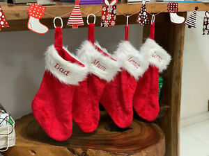 Personalised Christmas Plush Stockings Embroidered