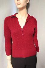 Henri Bendel 100% Cashmere Dark Red Collared Sweater Small S
