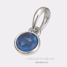 Authentic Pandora Silver December London Blue Crystal Droplet Pendant 390396NLB