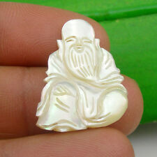 24x19mm Chinese Gods - Longevity Unmounted Carving Pendant Mother Of Pearl, Sau4
