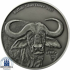 Afrika Serie: Gabun 1000 Francs Silber 2015 Antique Finish Büffel