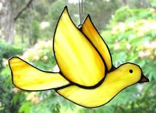 OPAQUE SUNNY YELLOW PEACE DOVE Stained Glass Silver Finish BIRD SUNCATCHER Gift