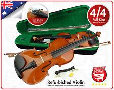 Violin 4/4 Full Size Natural Acoustic Wooden Set Bow Rosin Strings Case Beginner