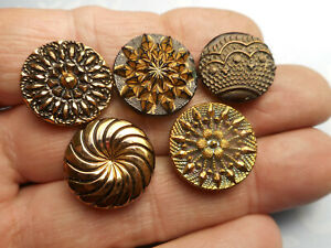 """Lovely Lot 5 Black Glass Stars Flower Lace Gold Luster Antique Buttons 3/4"""" RS"""