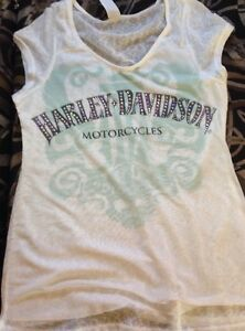 HARLEY DAVIDSON Wings Ladies BLING & CRYSTAL Shirt Gray Large NWT
