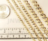 10K Genuine Yellow Gold Diamond Cut White Pave Cuban Curb Link Chain Necklace