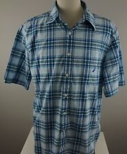 NAUTICA Men's XL Shirt Short Sleeve Button Front White Blue Plaid