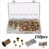 150-Pieces Mixed Zinc Plated Carbon Steel Rivet Nut Kit Threaded Insert Nut set