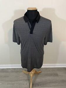 Lululemon Black Gray Solid Tech Polo Shirt Men's Medium M Short Sleeve