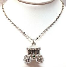"""White Metal Costume Chain Necklace w/ Stagecoach Pendant - 20"""" Long"""
