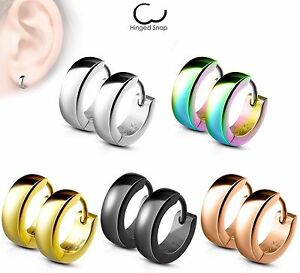 PAIR of 4mm Wide Stainless Steel Dome Hoop Huggies 20g Earrings