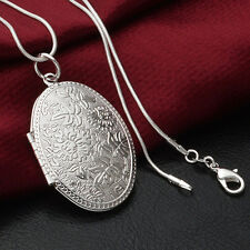 Pure 925 Sterling Silver Oval Shape Locket Necklace (Pendant + Chain) #001