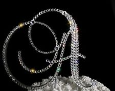 """Handmade Clear Crystals 6"""" Wedding Cake Topper Wooden Letter """"A"""""""