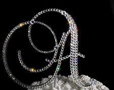 "Handmade Swarovski Clear Crystals 5"" Wedding Cake Topper Wooden Letter ""A"""