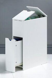 Slimline Bathroom Storage Unit Organiser Wooden Cupboard Narrow White - 7892 NOM