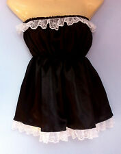 Negro satinado vestido Adulto Baby Fancy Dress Sissy Mucama Francesa De Cosplay encaja 36-52