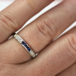 0.7 ctw Natural Blue Sapphire & Diamond Solid 14k White Gold Full Eternity Ring