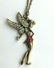 Vintage jewelry pendant necklace large fairy tinkerbell rhinestones
