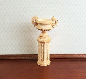 Dollhouse Pedestal Plant Stand w/ 2 Handled Urn Cast Resin 1:12 Scale Aged Tan