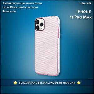 Hülle für iPhone 11 Pro Max Case Durchsichtig Pink Cover Handyhülle Klar 360