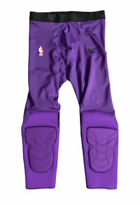 NIKE NBA PRO HYPERSTRONG PADDED TIGHTS PANTS 3/4 PURPLE COMFORT Men's SIZE L