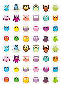 48 Edible Owls Cupcake Toppers Rice Wafer Card Edible