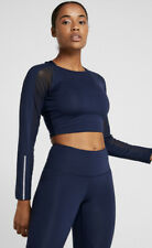 South Beach Navy Long Mesh Sleeve Crop Sport Top Yoga Pilates EU 36 UK 8 New