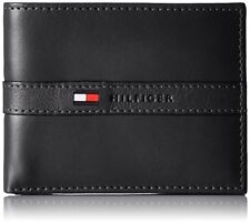 TOMMY HILFIGER MEN'S LEATHER PASSCASE & VALET BILLFOLD BLACK TOMMY WALLET