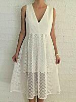Women's Sleeveless V-Neck White Evening Cocktail Party Midi Dress Size 10