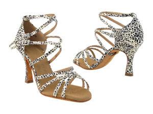Women's Dark Tan Salsa Ballroom Dance Shoes Heel 2 5 and 3 Very Fine SERA5008