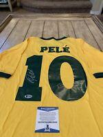 Pelé Autographed/Signed Shirt Jersey Beckett COA Pele Brazil Brasil