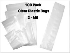 100 Pack Clear Lay FLAT Poly Plastic Bags 2 Mil - Over 35 sizes - Choose Size