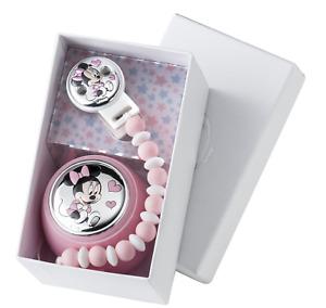 Disney Set Box e Porta Ciuccio Minnie Mouse con Palline per Dentizione Neonato