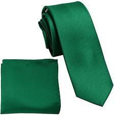 "New Polyester Men's 2.5"" Neck Tie & hankie set formal wedding prom emerald green"