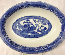 """CARIBE CHINA BLUE WILLOW OVAL SERVING BOWL 12"""" ASIAN SCENE RESTAURNT PUERTO RICO"""